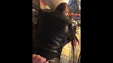 Fucking my gf in leather pants