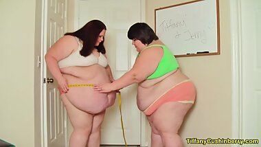 Measuring Our SSBBW Bodies - Comparing Fat Bellies - BBW Lesbians Feedees Talk About Weight Gain