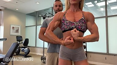 WOW! 6ft AMAZON embarrasses loser УSteveФ w/ superior size and strength! Would you train w/ her?