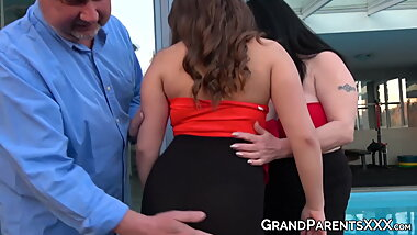 Young brunette babes riding big fat mature grandpa cock