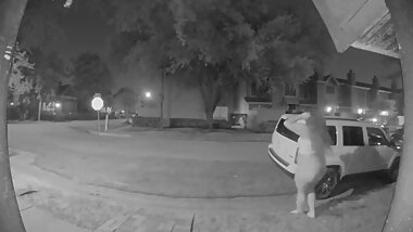 Girl Caught Peeing in Public @ 2AM on Nest Cam