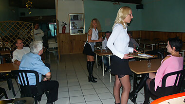 3 ANAL maids in restaurant